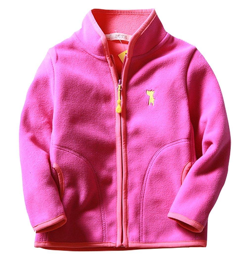 Girls Soft Fleece Jacket Long Sleeve Coat Hand Pocket Zipper Up Outwear 2-8T ZETA DIKES
