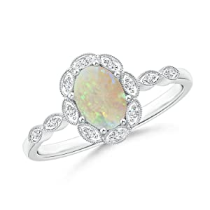 Oval Opal Halo Ring for Women with Milgrain Diamonds in 14K White Gold