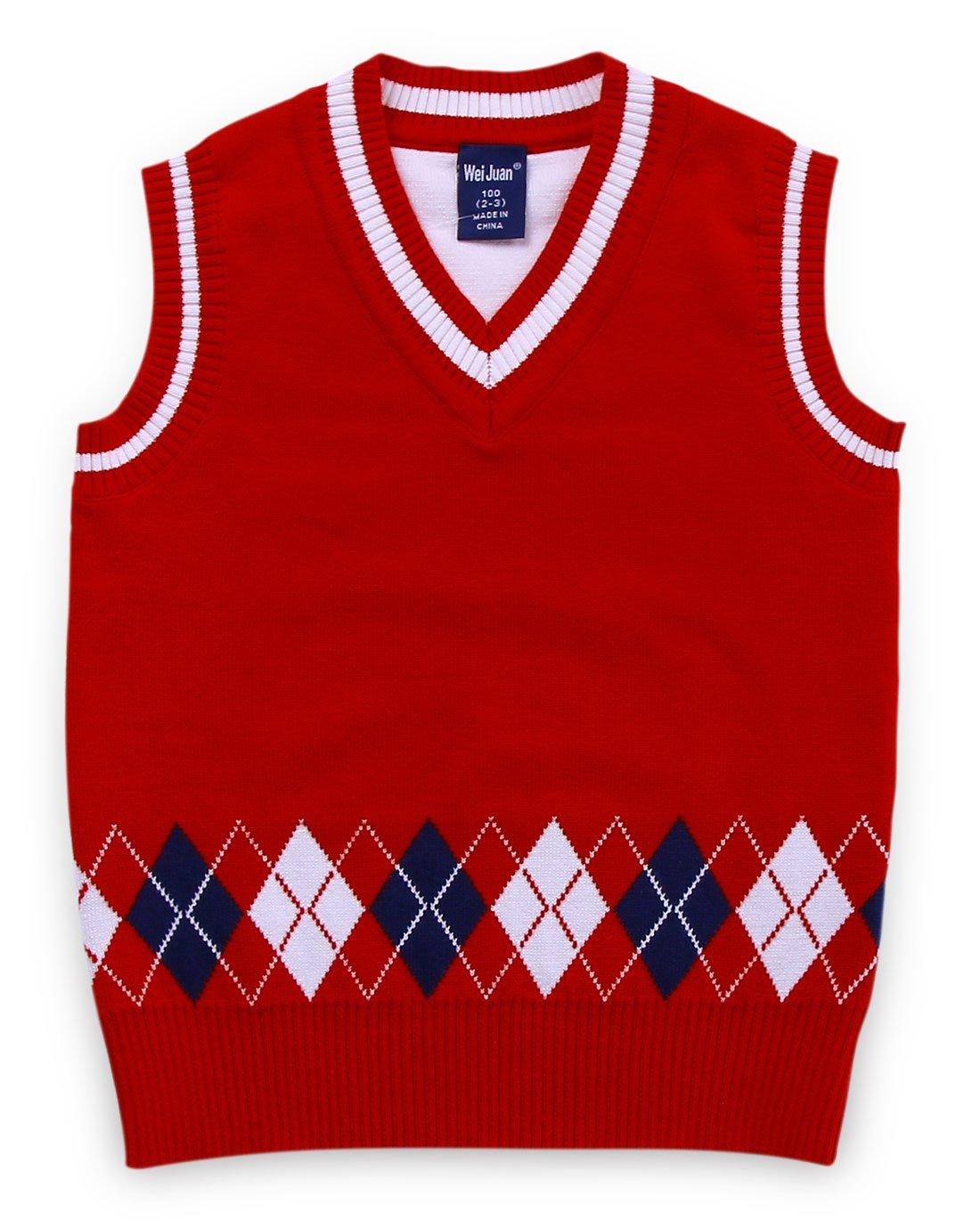 Boys Sweater Vest Argyle V Neck Sleeveless Pullover Knit School Waistcoat 2-7T Wei Juan