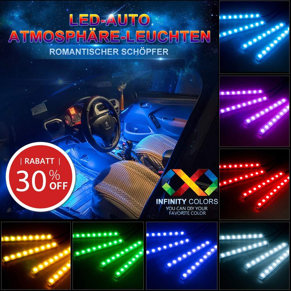 Auto atmósfera Beam, agedate Luz Auto 4× 12Barra de luz (mehrfarbliche tira LED Lámpara Interior Iluminación Auto Barra de luz con mando a distancia y cargador coche DC 12V