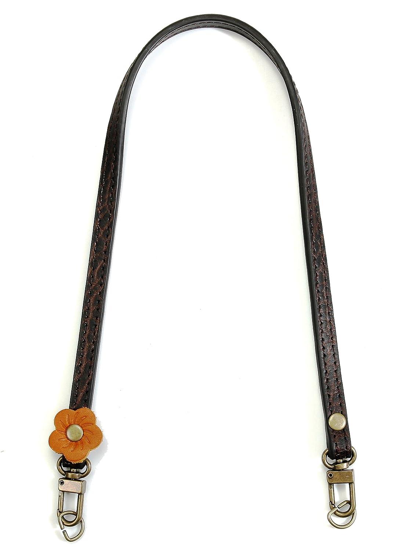 50,8 cm byhands geprägt Dark Braun aus echtem Leder Bag Schulterriemen mit Blume Dekoration (20–5101-e)