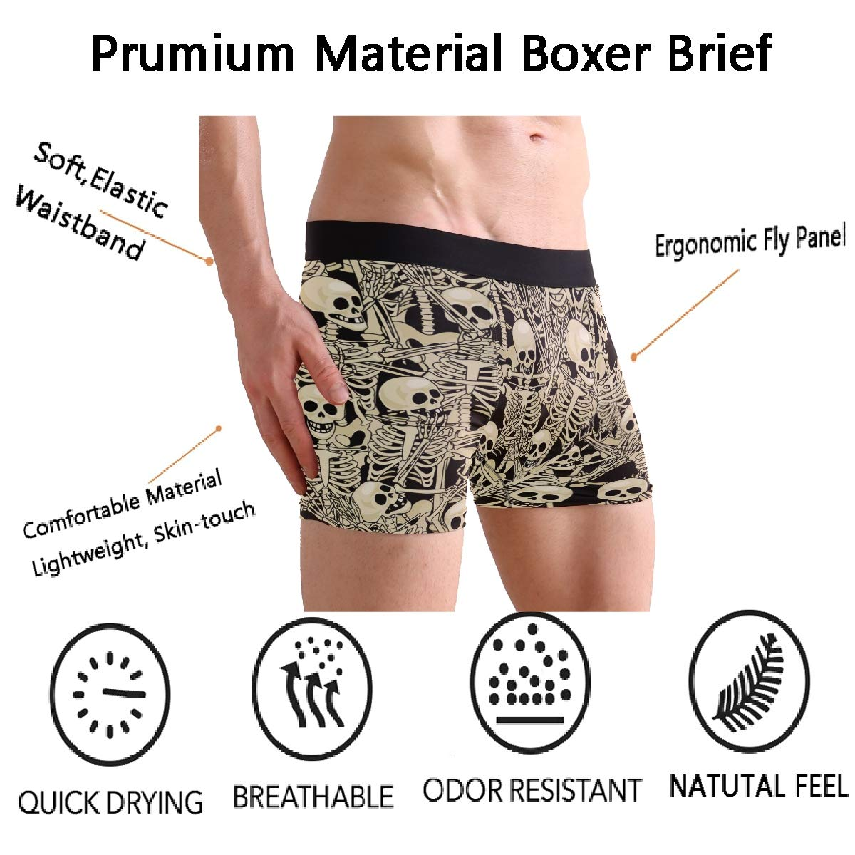 Naanle Chic Skulls Skeleton Floral Mens High Waistband Boxer Briefs Stretch Trunk Floral