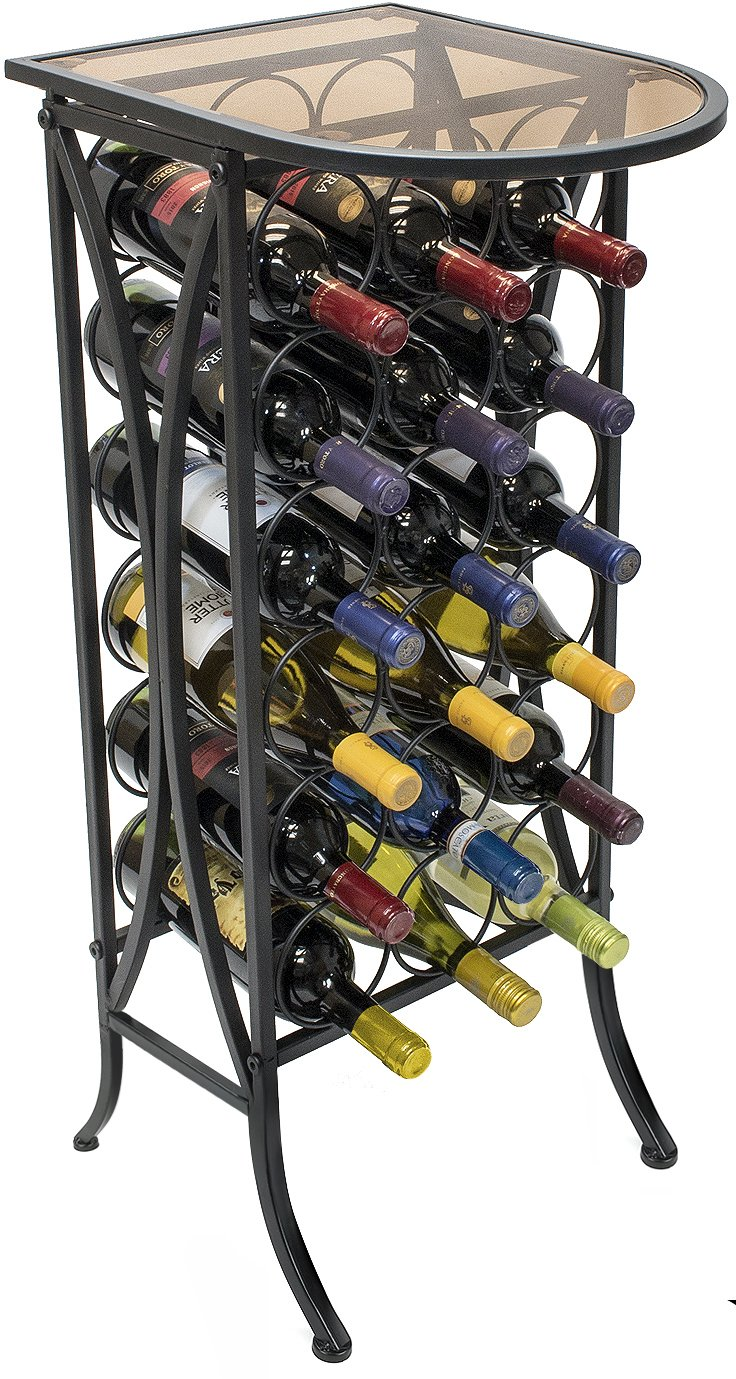 Sorbus Wine Rack Stand Bordeaux Chateau Style with Glass Table Top - Holds 18 Bottles of Your Favorite Wine - Elegant Looking French Style Wine Rack to Compliment Any Space - Minimal Assembly by Sorbus