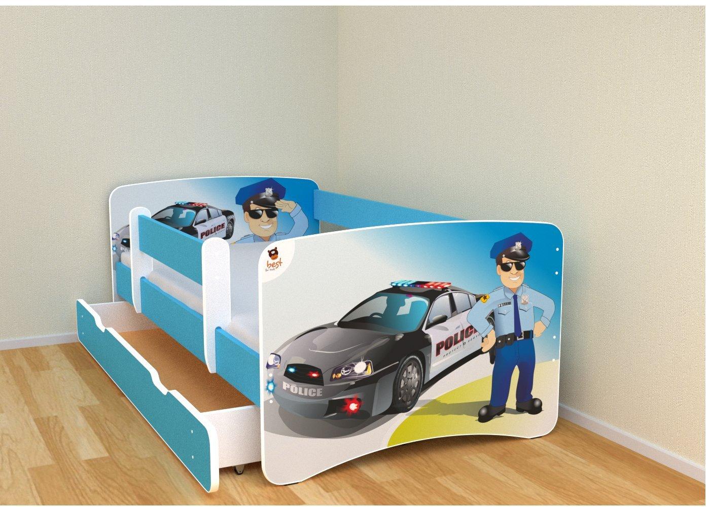 Best For Kids Kinderbett 80x160 mit Rausfallschutz bunte Seitenteile in blaue Farbe mit 10 cm Matratze und mit Schublade viele Designs
