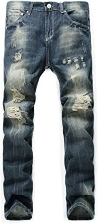 Banana Bucket Men's Ripped Slim Straight fit Biker Jeans with Zipper Deco