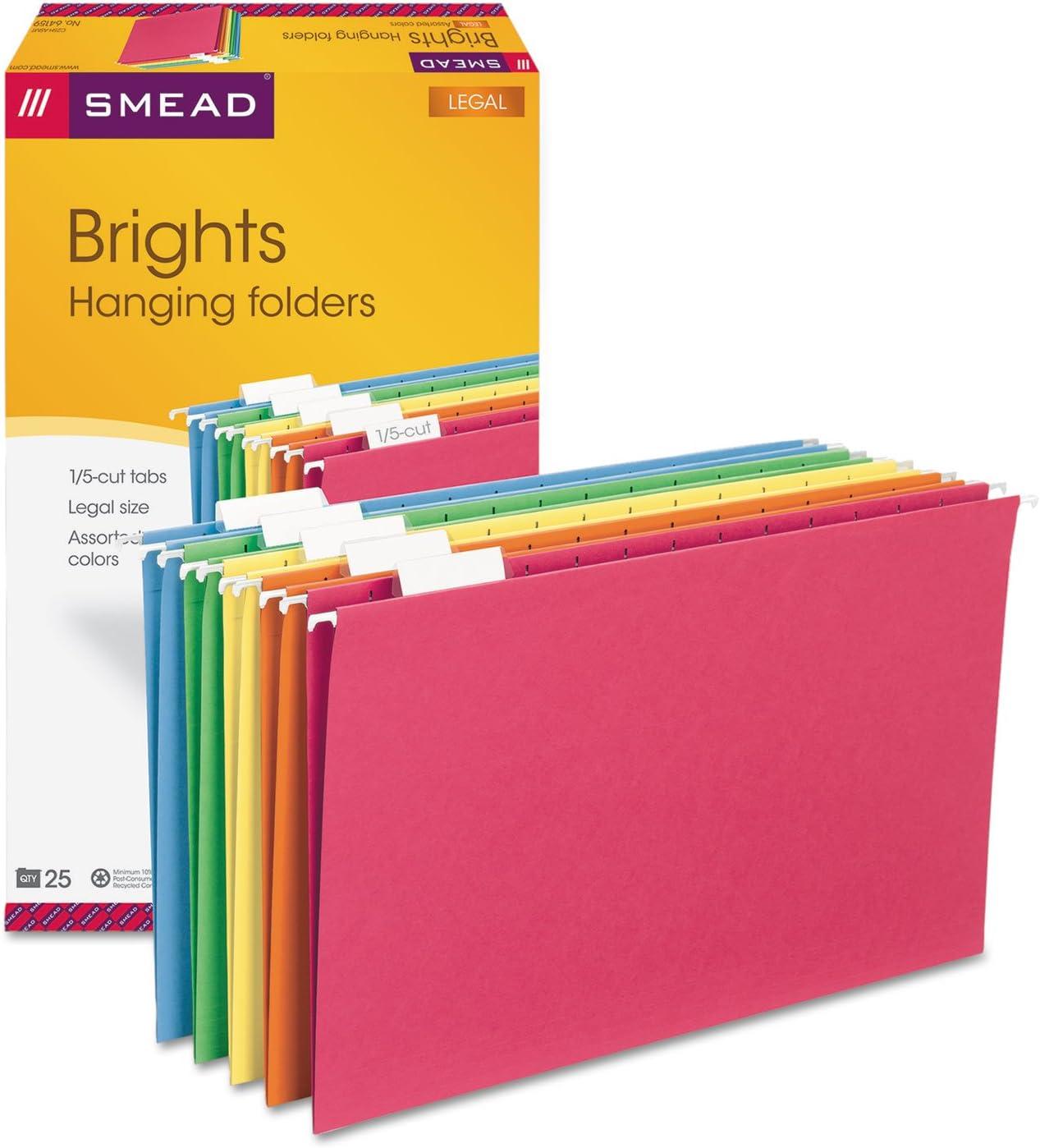 Smead Hangingファイルフォルダ、1 / 5タブ、11点ストック、法的、アソートカラー、25 /ボックス