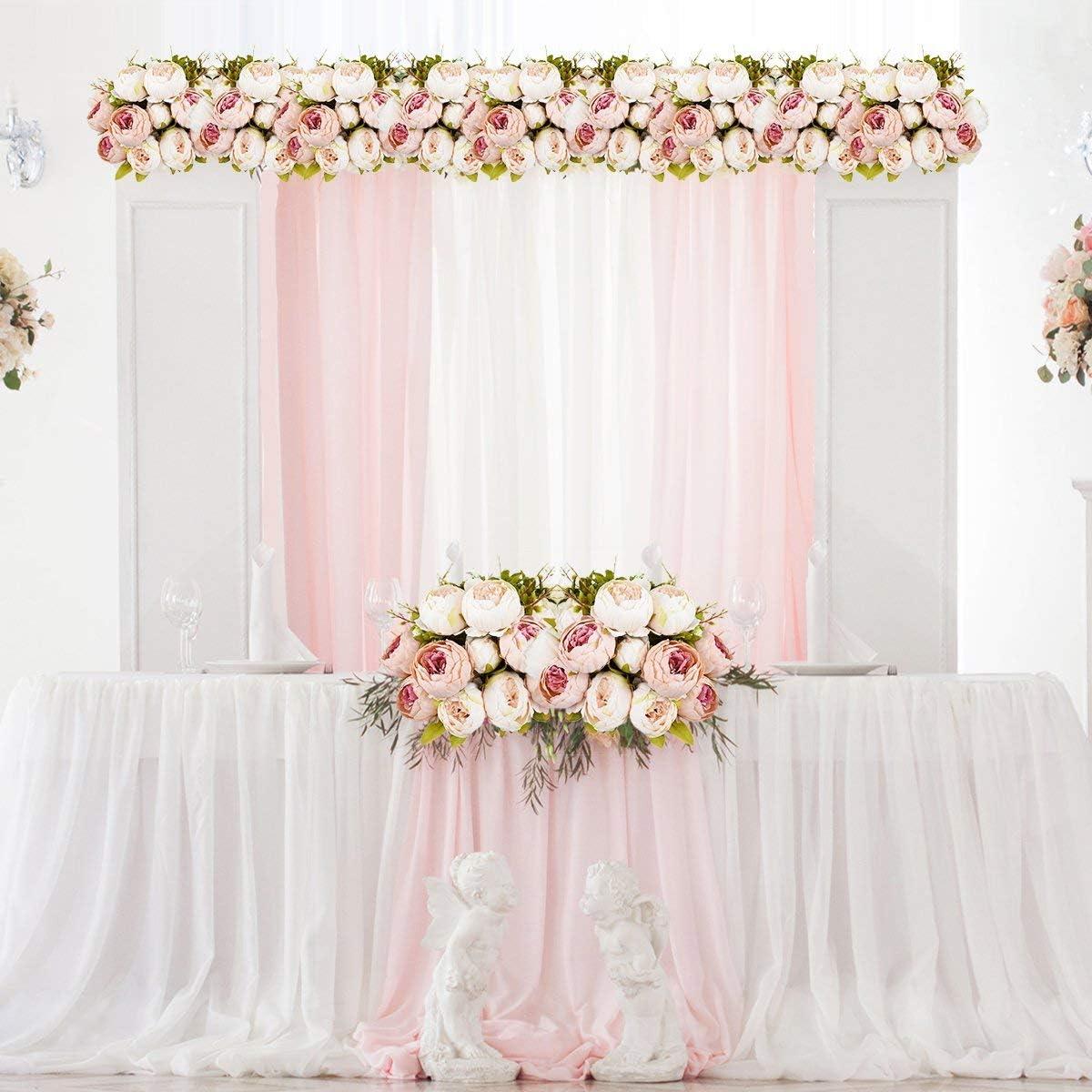 Ramo de peon/ías artificiales Amkun 1 unidad Flores de seda para decoraci/ón del hogar o bodas