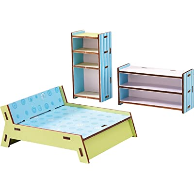 "HABA Little Friends Master Bedroom - Dollhouse Furniture for 4"" Bendy Dolls - 3 Piece Set: Toys & Games"