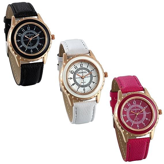 ... Relojes para Mujer Analógico Correa de Cuero Retro Vintage, Reloj de Pulsera para Mujer Blanco Rosa Negro 3 Colores Disponibles para el Verano 2017: ...