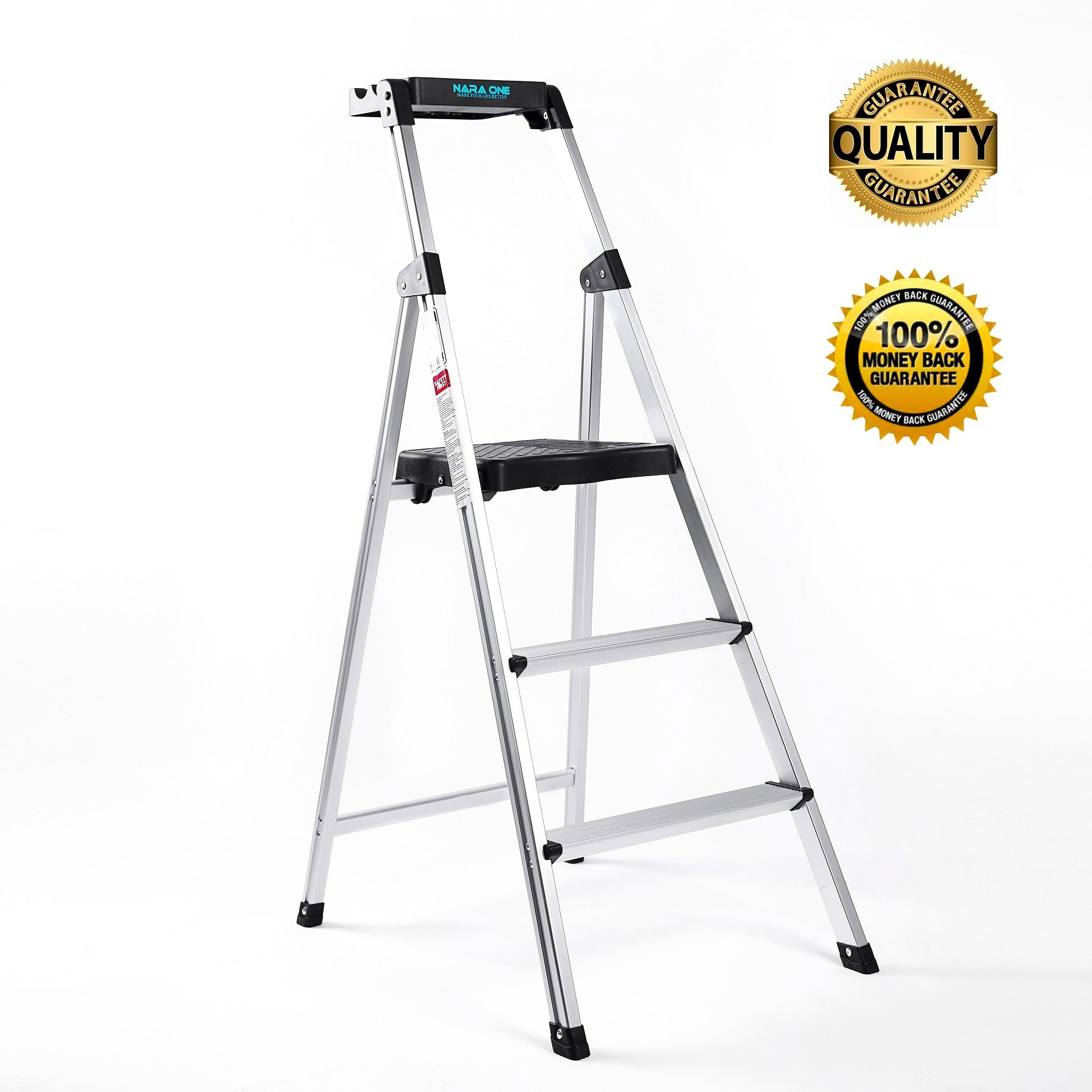 Step Ladder,Ultra Lightweight and Sturdy 3 Step Ladders Aluminum 330 lbs Capacity Fold Up Step Stool with Platform for Home and Kitchen (Sliver)