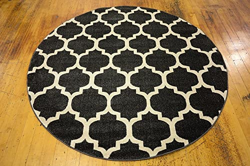 Unique Loom Trellis Collection Moroccan Lattice Black Round Rug 6 0 x 6 0