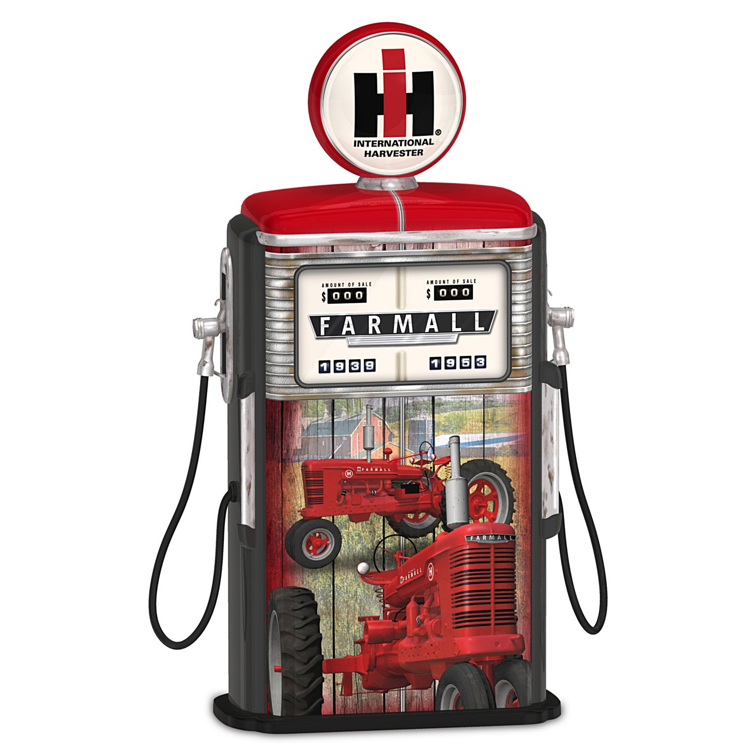 Farmall Tractor Model H Gas Pump Sculpture Lights Up:by The Hamilton Collection