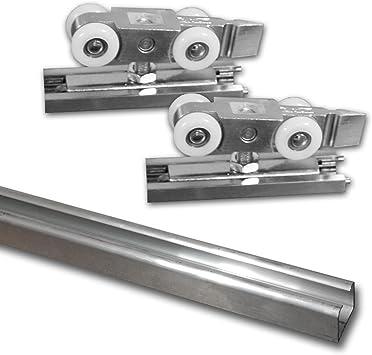 55 kg Beschlagset f/ür Schiebet/ür Laufschiene 3m inkl aluminium