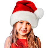 Santa Hat,Xmas Holiday Hat for Kids,Unisex Velvet Comfort Christmas Hats Extra Thicken Classic Fur for Christmas New…