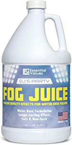 Essential Values DJ's Party Fog Juice (128 FL OZ / 1 Gallon) – Produces Long Lasting Medium Fog for Water Based Foggers, Perfect for 400 Watt to 1500 Fog Machines – MADE IN USA