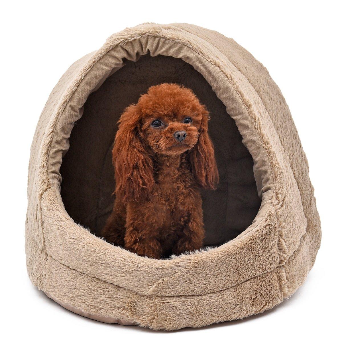 xiaojuan-pets, Corta felpa cubierto gato cama de gato Mascota cueva igloo de perro con extraíble y reversible cojín cama y cojín Todo uso doble para perros, ...