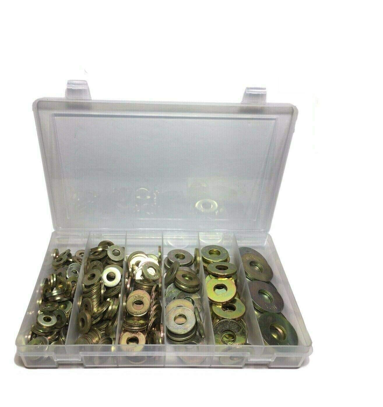 washers for Screws Grade 8 USS Extra Thick Heavy Duty Flat Washer Assortment Kit 6 Sizes 310 Piece Quality Metal Fast