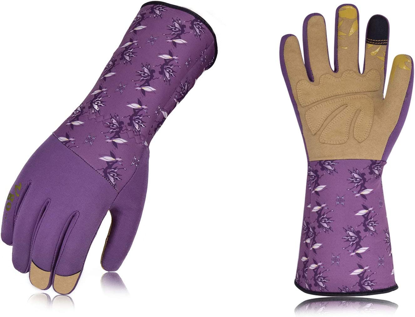 Vgo Ladies' Synthetic Leather Long Cuff Rose Garden Gloves (Size L, Purple, SL7453)