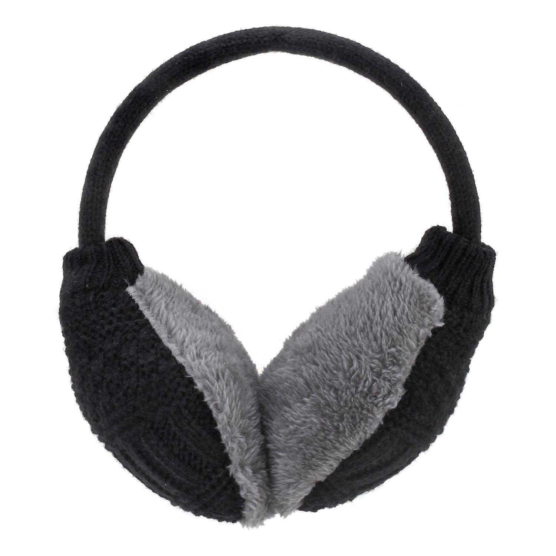 Hey Song Women Girls Winter Warm Adjustable Knitted Faux Fur Plush Earmuffs Warmers (Classic Black)