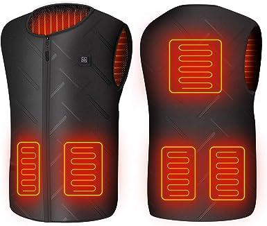 NO Power Bank Ski Hiking Electric Body Warmer KAIWM Electric Vest Warmer Gilet for Men//Women,3 Levels Adjustable Temperature 5V USB Heated Vest,Outdoor Work ,Black,4XL