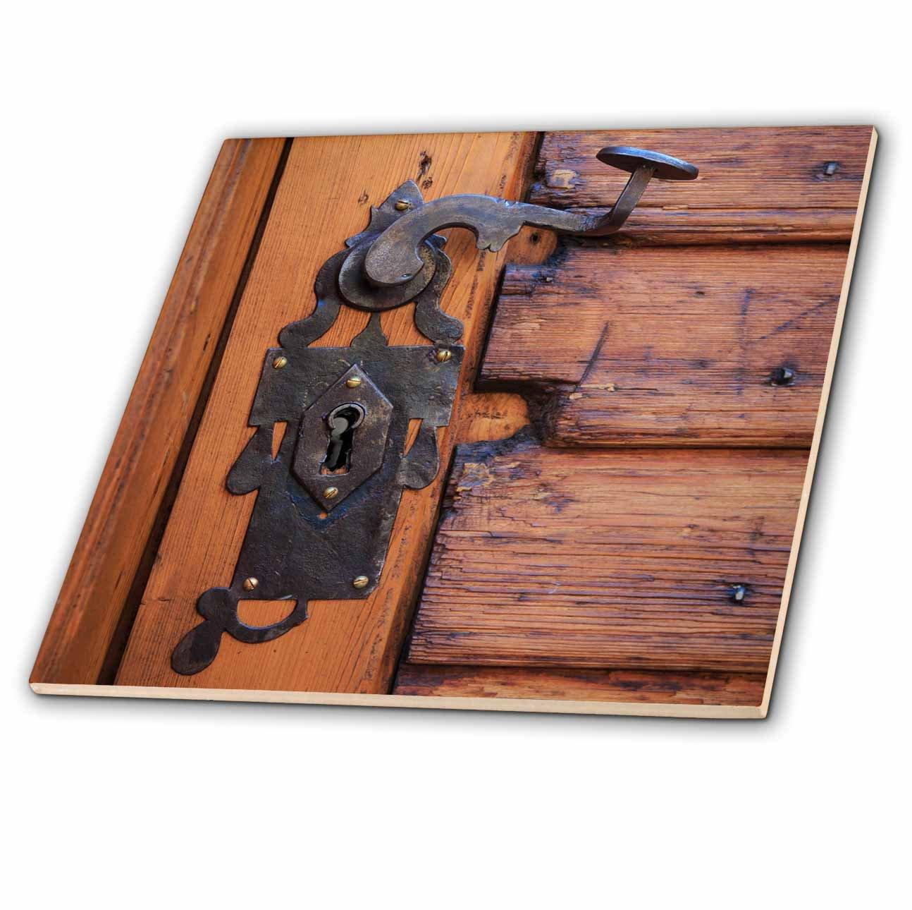 3dRose Danita Delimont - Architecture - Romania, Brasov. Door handle, key hole. - 6 Inch Glass Tile (ct_277855_6)