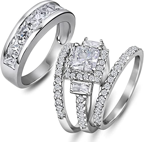 His and Hers 4pc Halo 925 Sterling Silver Tungsten Engagement Wedding Rings Set