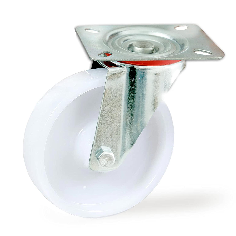 wei/ß Set mit 4 Transportrollen Kunststoff Rollen 160 mm weitere Gr/ö/ßen mit und ohne Bremse w/ählbar lenkbar mit Bremse