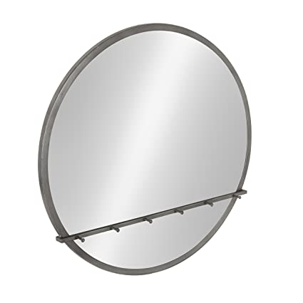 Amazon.com: Kate and Laurel Oravo Round Metal Framed Mirror with ...