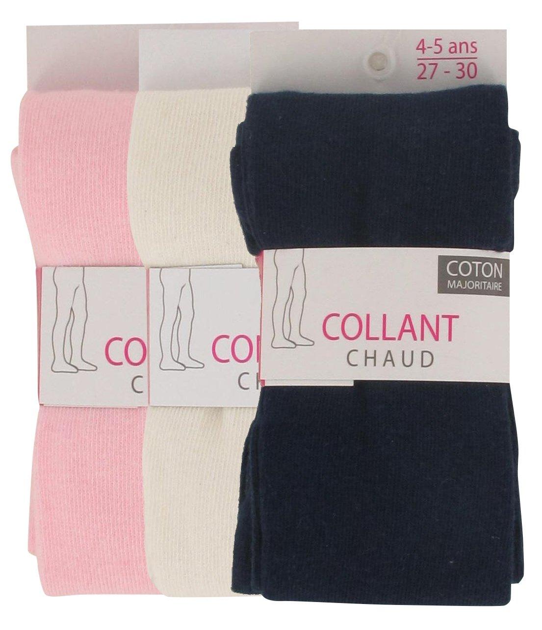 Ozabi - Collants Chauds Bébé Lot de 3 Unis Couleur - Écru/Rose/Marine, Taille - 2/3A