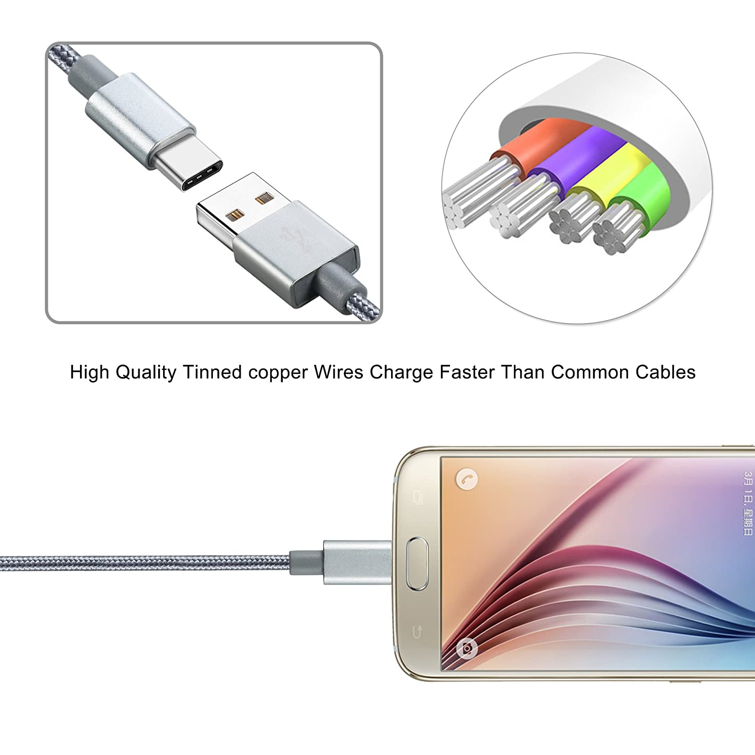 Usb Type C Cable 3pack 6ft 10ft Welmor Nylon Copper Wiring Retina Braided Fast Charger Cord For Samsung Galaxy S8s8 Plus