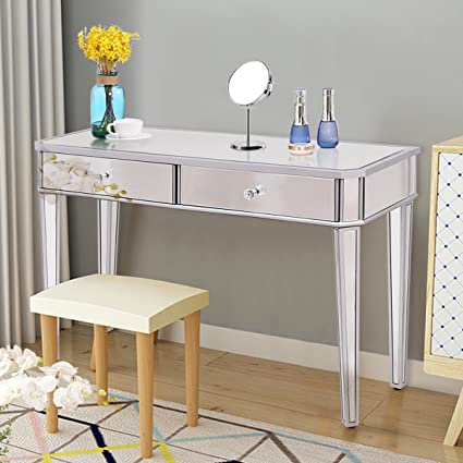 TANGKULA Mirrored Makeup Table Desk Vanity For Women With 2 Drawers Home  Office Smooth Silver Finish