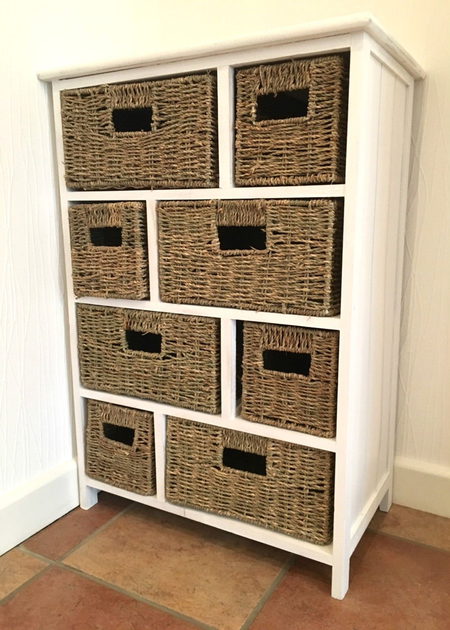 Tetbury white storage unit with 5 drawers bedroom furniture direct - White Brown Storage Unit Wicker Baskets Chest Of Drawers Shabby Chic Amazon Co Uk Kitchen Home