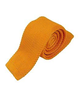 TOOGOO Cravate en tricot tisse etroite mince de la couleur pure a la mode pour hommes jaune or