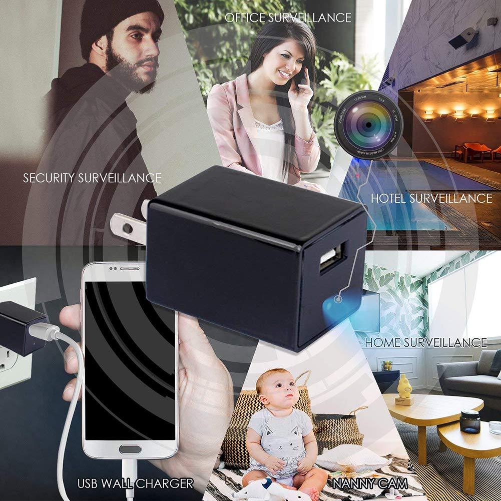 Ydq Cámara Espía Oculto Adaptador De Cargador Móvil Cámara USB HD 1080P con WiFi Y Detección Dinámica Admite 64 GB De Memoria Extraíble Ideal para Oficinas ...