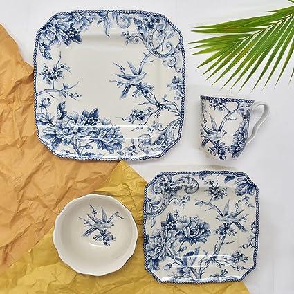 Amazon.com | 222 Fifth Adelaide Blue 16-piece Dinnerware Set ...
