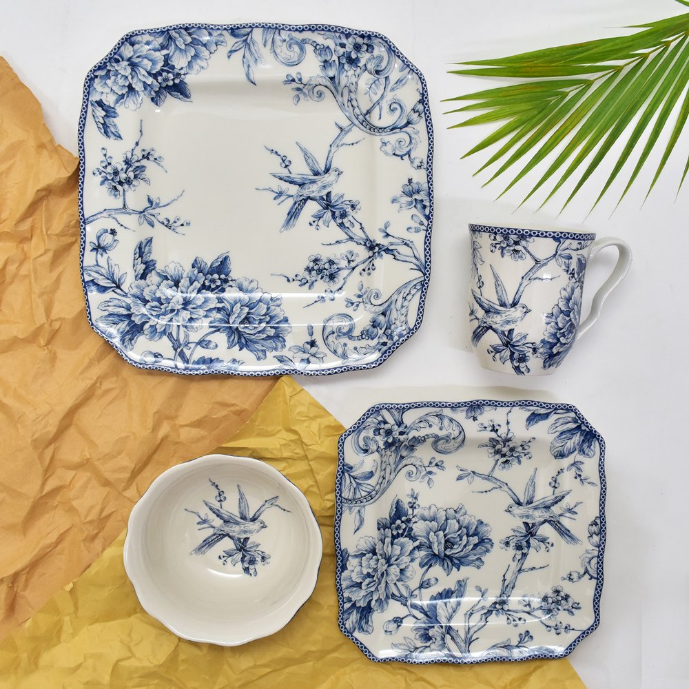 222 Fifth Adelaide Blue 16-piece Dinnerware Set, Service for 4 by 222 Fifth
