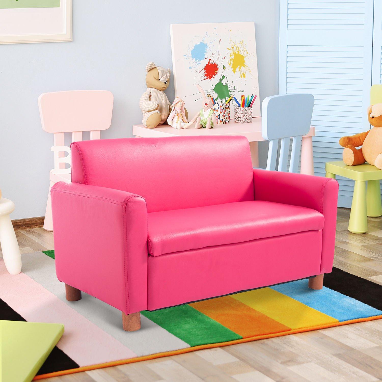 Qaba 33 Kids PU Leather Storage Sofa - Pink by Qaba (Image #2)
