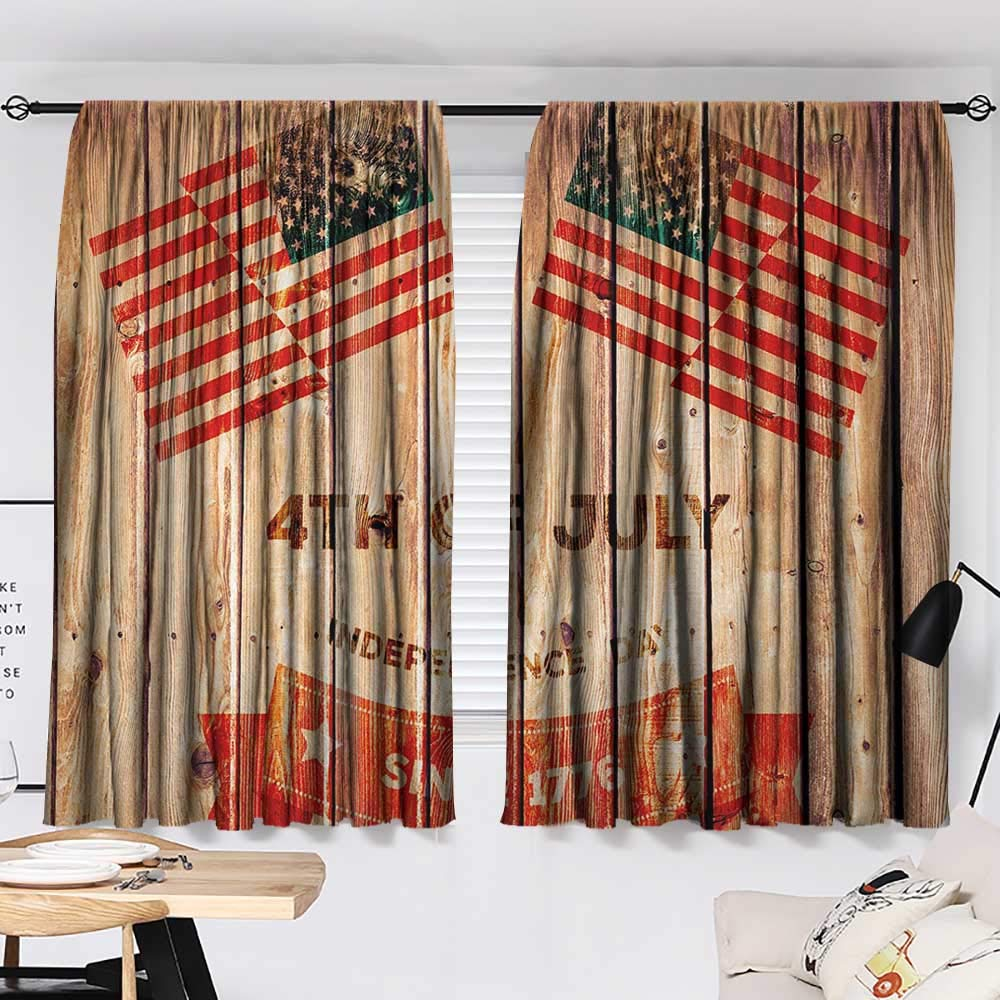 Jinguizi 4th of July Darkening/Blackout Wooden Planks Background with United States Flag Design and Colorful Banner Microfiber Darkening Curtains Multicolor W55 x L39 by Jinguizi (Image #2)