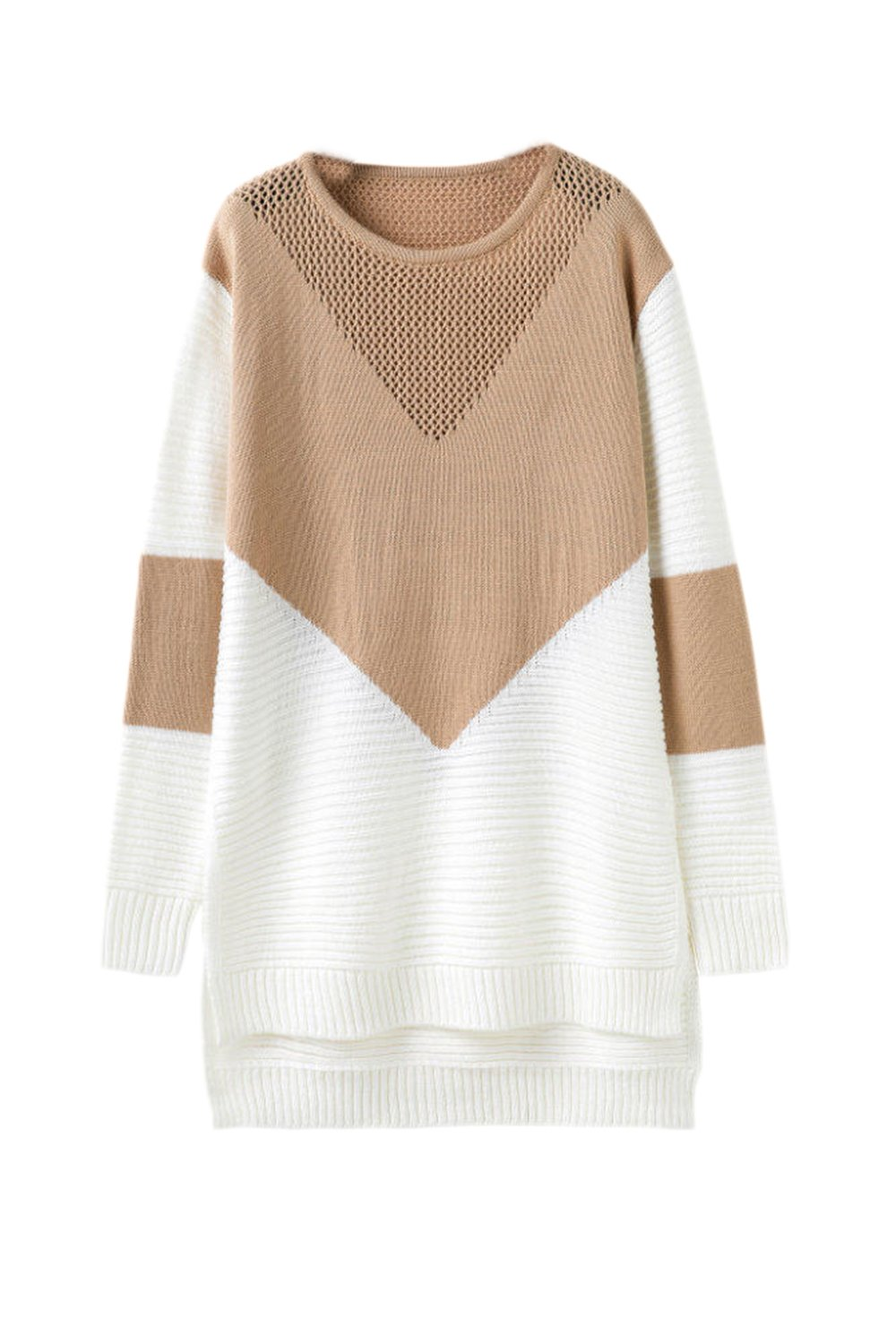 Women Winter Casual Colorblock Hollow Out Midi Side Slit Knit Sweater CAFZ1497