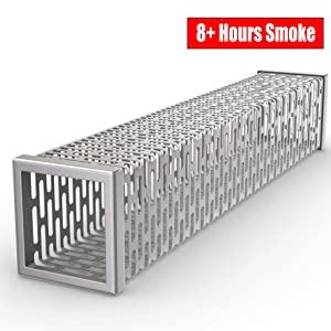 Cave Tools Pellet Tube Wood Smoker Box - High Grade 304 Stainless Steel 8+ Hours Hot or Cold Smoking Generator Kit for Cheese Salmon Fish or Meat on BBQ Grill - Barbecue Grilling Accessories