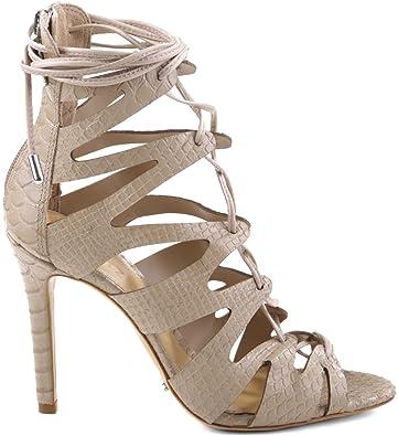 55508da0da57 SCHUTZ Women s Nadia Oyster Embossed Snake Print High Heel Lace Up Sandal  Pump ...