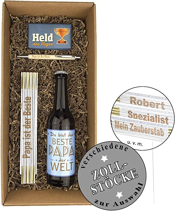 schenken-24 4 Piezas Caja de Regalo Día del Padre/Cerveza/kulli/Regla/Cumpleaños/muñeco de Papa//Chocolate/Hombres, Hans: Amazon.es: Jardín
