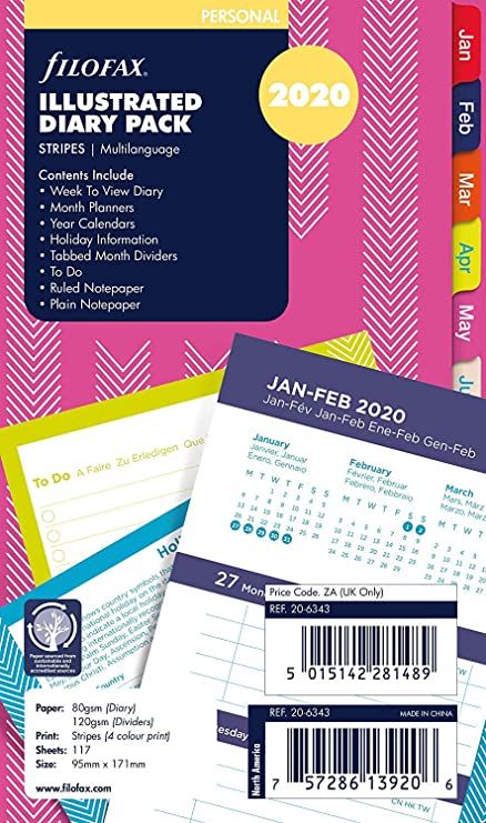 Filofax Personal Stripes Illustrated 2020 - Recambio para ...