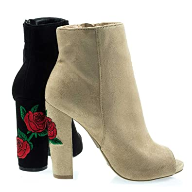 144f49d9d02 Wild Diva Women's Embroidered Floral Chunky Block Heel Peep Toe Ankle Bootie
