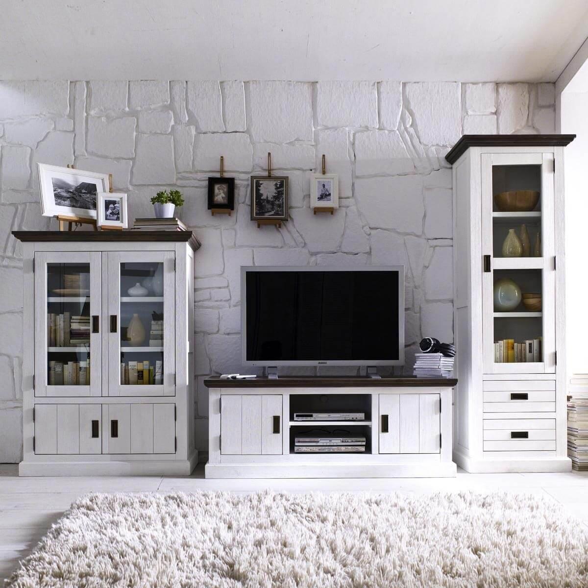 Wohnzimmermöbel weiß landhaus  Vitrine Vitrinenschrank Gomara Holz Akazie Antik Weiß Braun ...