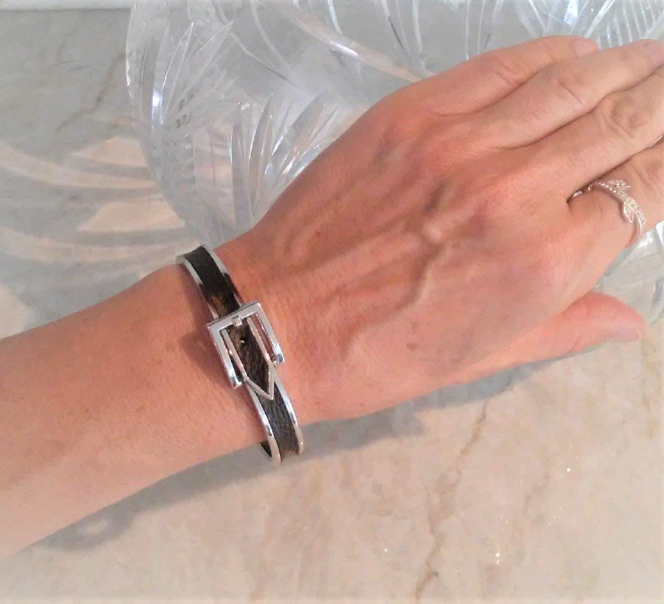9780b5f9910 Amazon.com  Buckle Bracelet w Louis Vuitton monogram upcycle repurpose.  SILVER TONE  Handmade