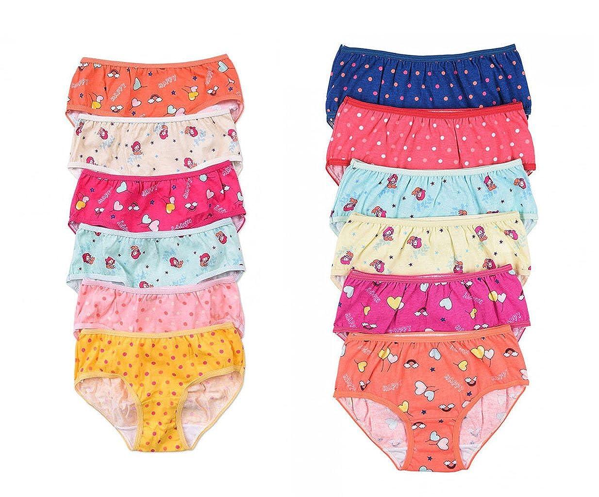 GP029 6 Pieces Polka Dot Mermaid Kid School Girls Cotton Bikini Panty S//M//L//XL