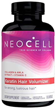 NeoCell Keratin Hair Volumizer, Enhance Hair Strength, Grass-Fed Collagen, Gluten Free, 60 Capsules (Package May Vary)