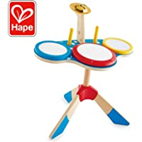 Hape Drum and Cymbal Set | Toddlers Wooden Drum and Cymbal Musical Instrument Set with Two Drum Sticks