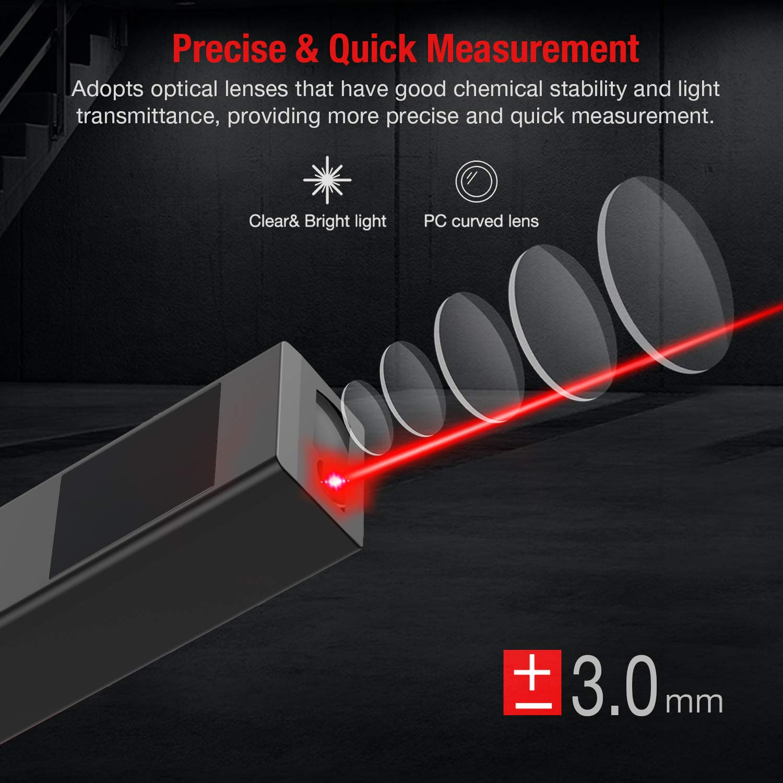 BEBEONCOOL Misuratore Laser,40M//131ft Telemetro Laser Distanziometro,LCD Display Retroilluminato Metro Laser Digitale Misuratori Distanza Laser con Buzzer,IP54 Impermeabile,5 Modalit/à,Antiusura